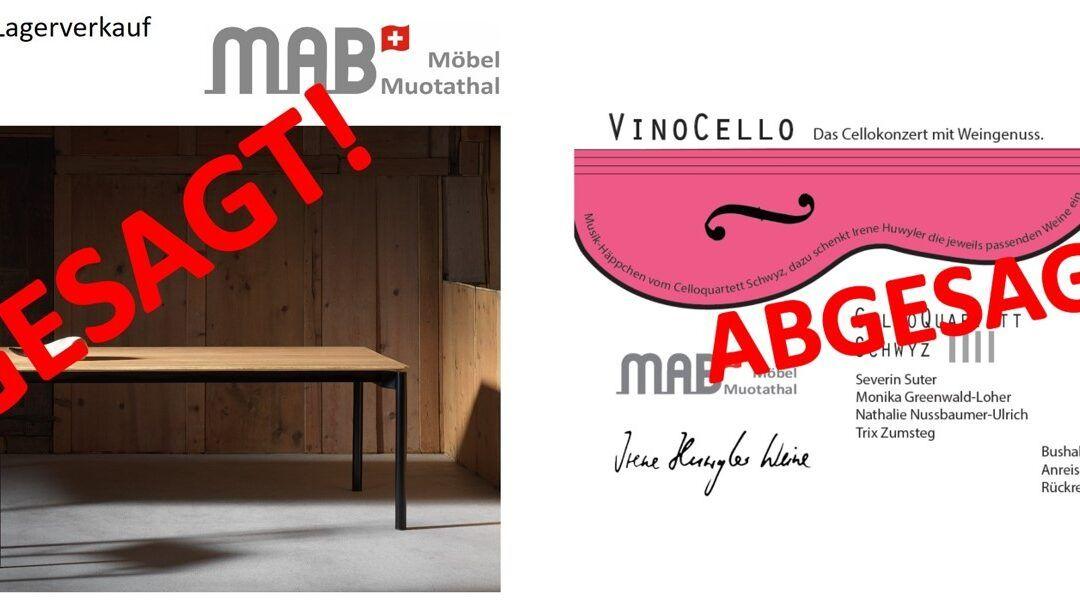 Lagerverkauf und Vinocello ABGESAGT